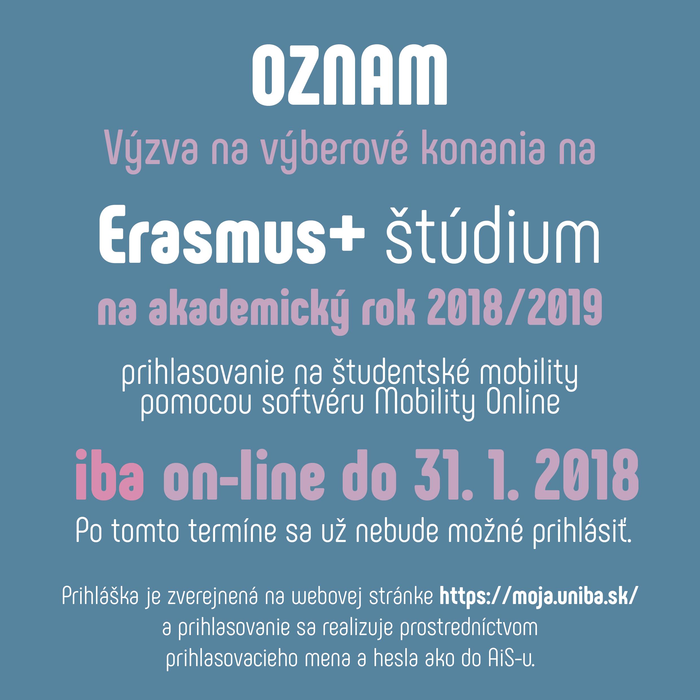 0d218e51bcb8 Výzva na výberové konania na študentské mobility Erasmus+ štúdium na  akademický rok 2018 2019