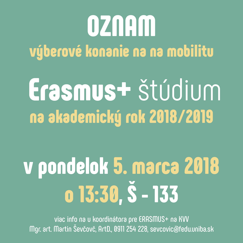 0ac7b16cb904 Výberové konanie na mobilitu Erasmus+ štúdium na akademický rok 2018 2019